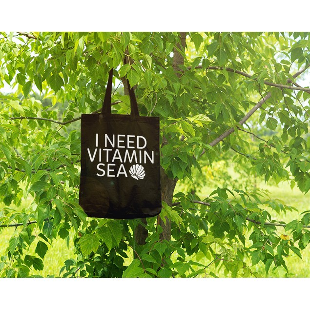 I Need Vitamin Sea Black Tote Bag