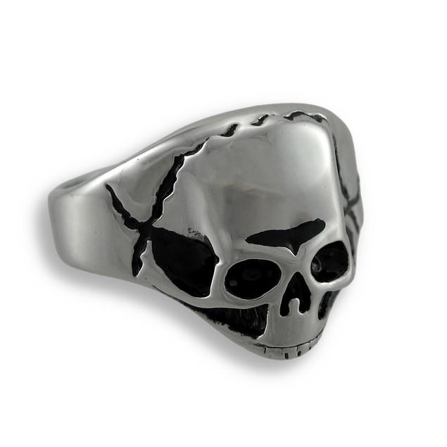 Shiny Cracked Skull Stainless Steel Ring Size 11 Rings