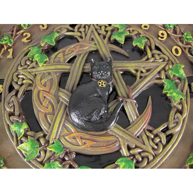Black Cat Crescent Moon Pentacle  Glass Top Spirit Occult Fortune Telling