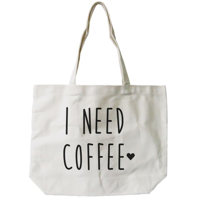 I Need Coffee Natural Canvas Tote Bag