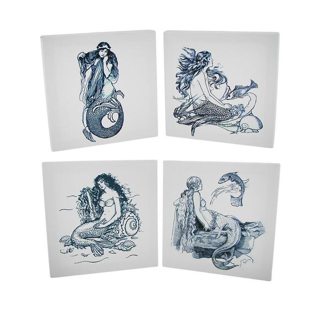 4 Piece Blue And White Mermaid Canvas Prints Set Prints