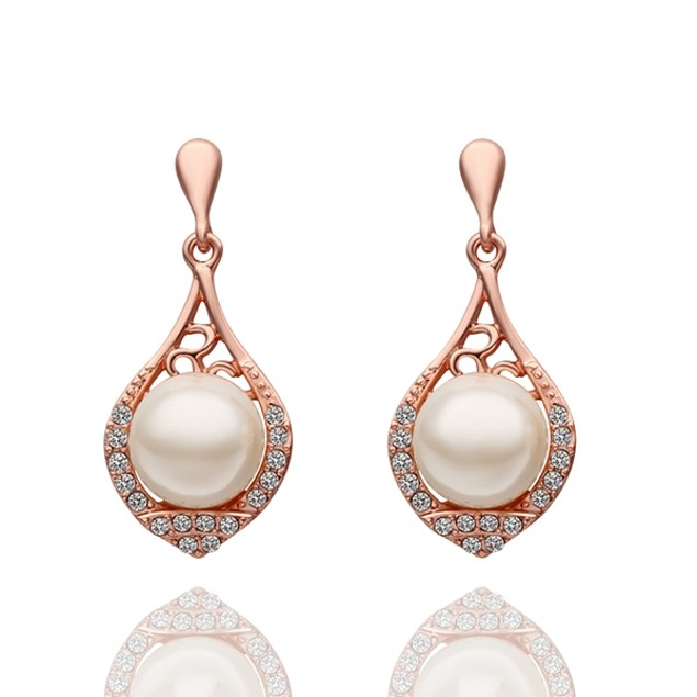 Rose Gold Plated Imitiation Pearl Drop Earrings