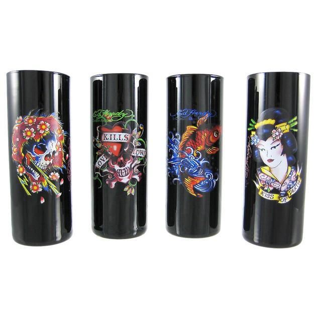 Set Of 4 Ed Hardy `Multi` Tattoo Black Shooter Shot Glasses