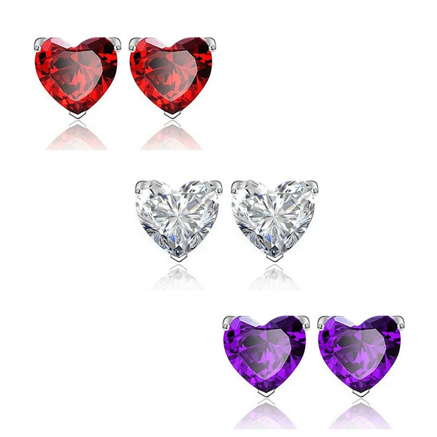 3 Pairs: Colored Gemstone Heart-Cut Stud Earrings