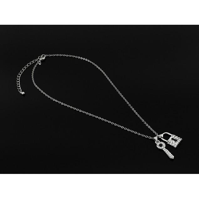 Dainty Rhinestone Lock And Key Necklace Pendant Necklaces