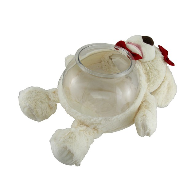 Teddy Tank  Plush White Dog Fish Bowl W/Red Bows Fish Bowls