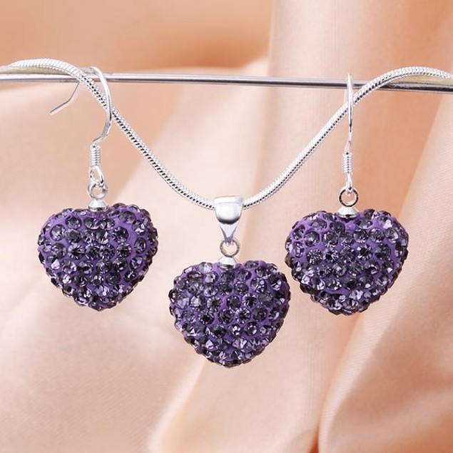 Austrian Stone Solid-Pave Heart Earring and Necklace Set - Amethyst Crystal