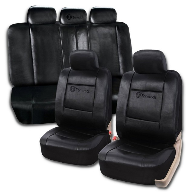 Zone Tech Universal Interior Decor PU Leather Car Seat Covers Black