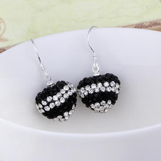 Austrian Stone Pave Heart Drop Earrings - Dark Onyx