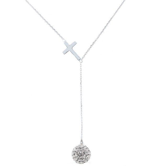 Swarovski Element Cross Y Necklace
