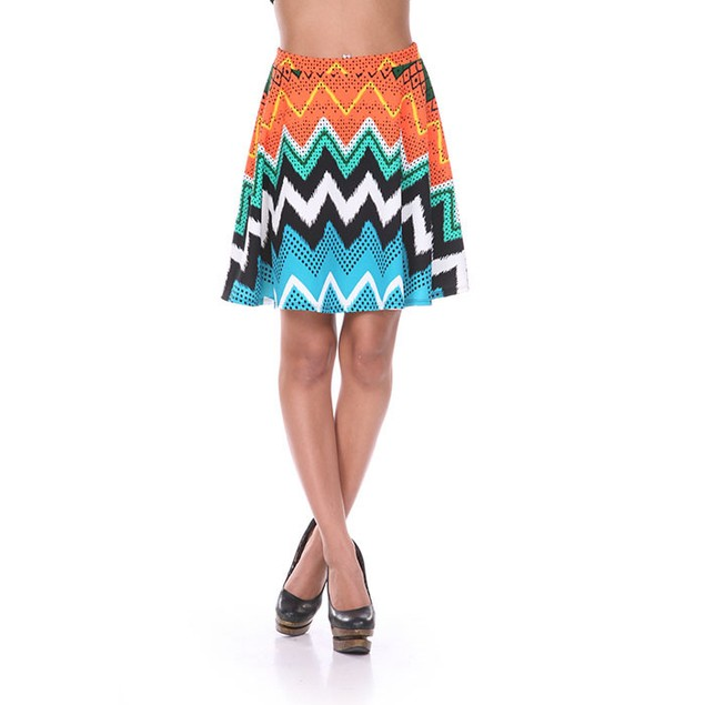 Orange & Blue Chevron Print Skater Skirt