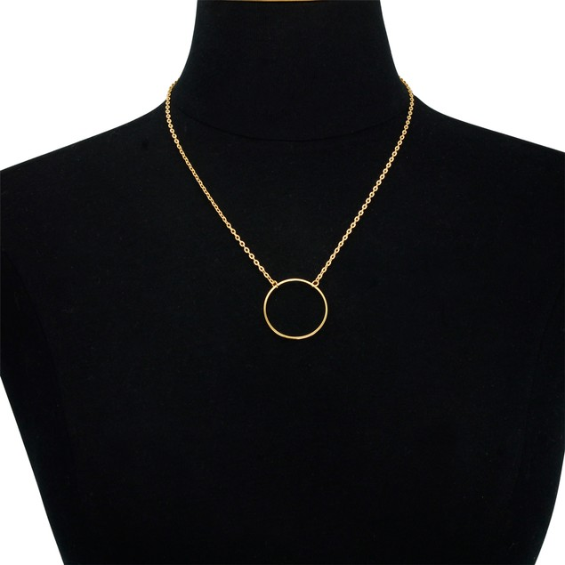 Yellow Gold Plated Circle Pendant Necklace