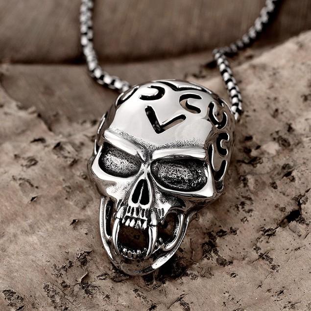 Alpha Steel Skull Helmet Emblem Stainless Steel Necklace