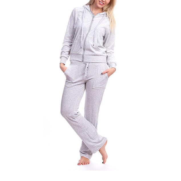 2-Piece Set: Junior's Hooded Velour Track Suit with Rhinestone Trimming