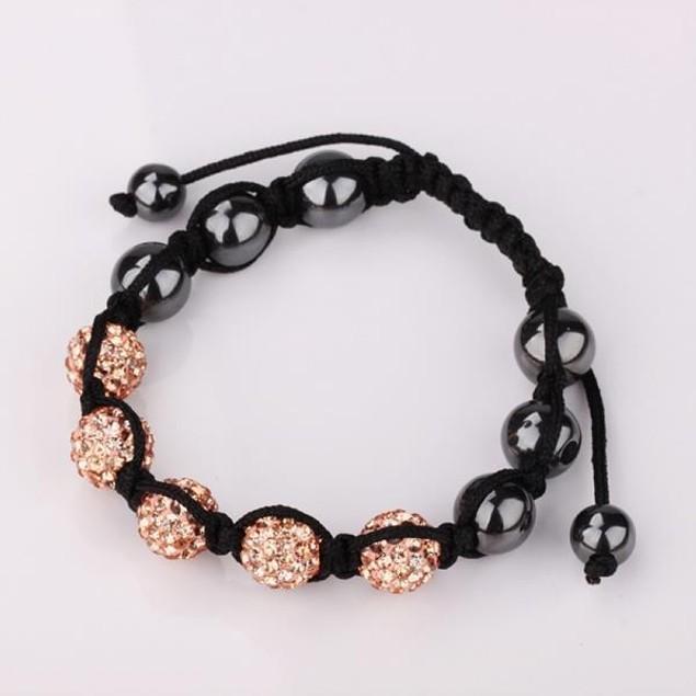 80's Glam Five Beads Austrian Crystal Bracelet -Light Champagne