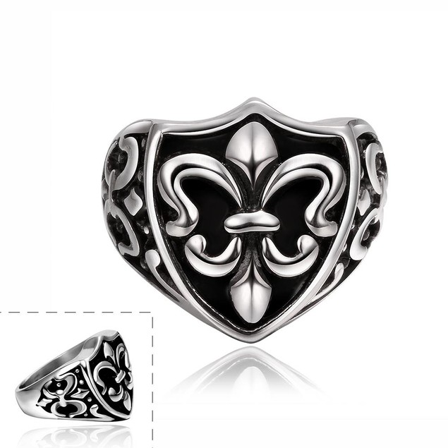 Abstract Shield Emblem Stainless Steel Ring