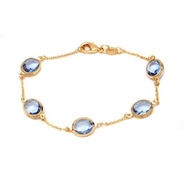 18K Gold and Light Sapphire Bead Bracelet