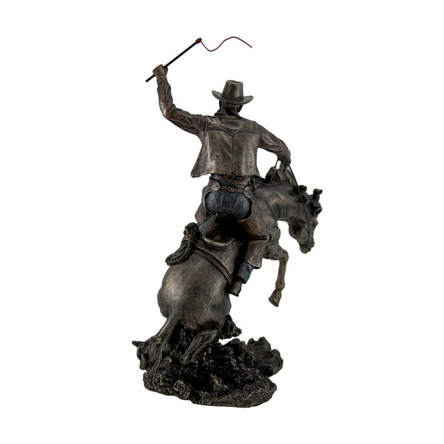 Bronzed Rodeo Cowboy And Bucking Bronco Statue 13 Statues