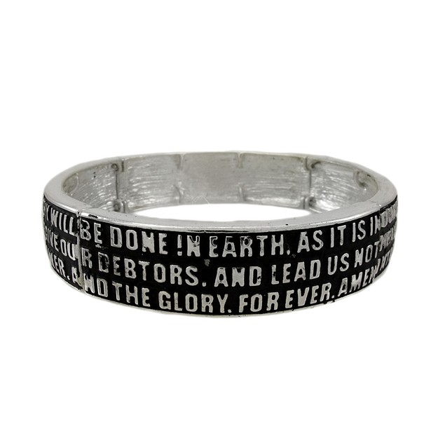 Black And Silver Lord`S Prayer Stretch Bracelet Stretch Bracelets