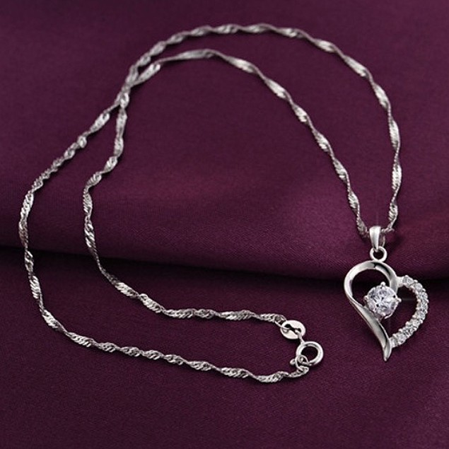 Cubic Zirconia Crystal Heart Pendant Necklace
