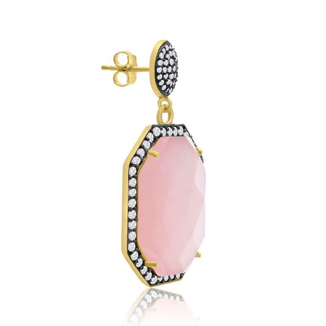 14k Yellow Gold 79ct Octagon Shape Rose Quartz and CZ Dangle Earrings