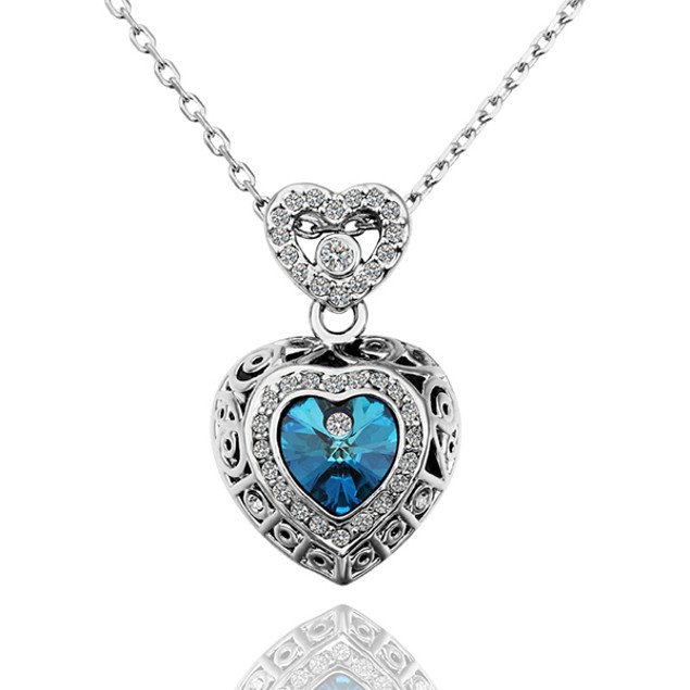 Silvertone Double Heart Chamber Blue Necklace