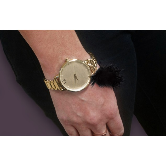 38mm Gold Tone Fashion Watch with PomPom Charm