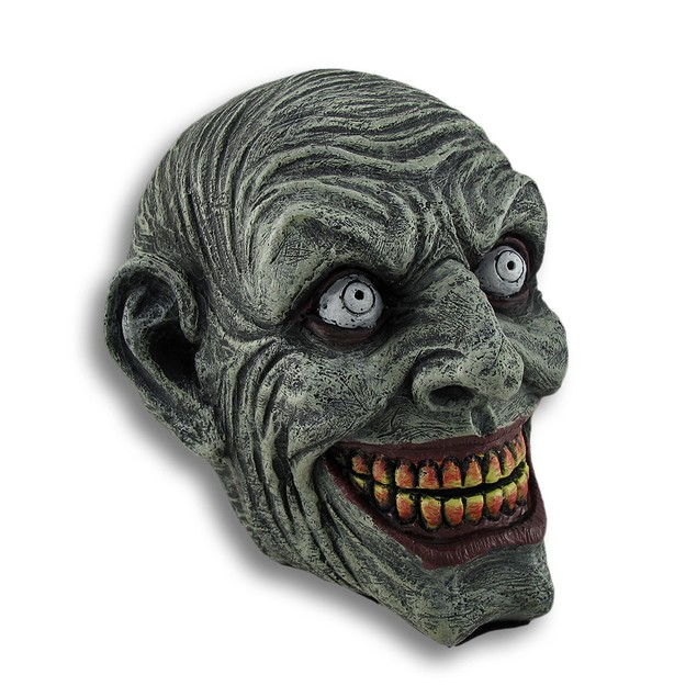 Maniacal Smiling Zombie Skull Statue Head Sculptures
