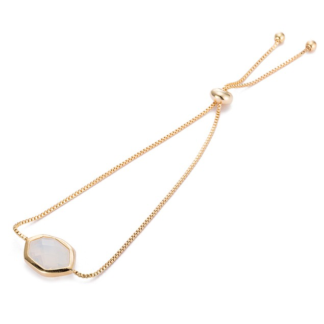 Gold Plated Hectagon Shaped Crystal Gem Bracelet