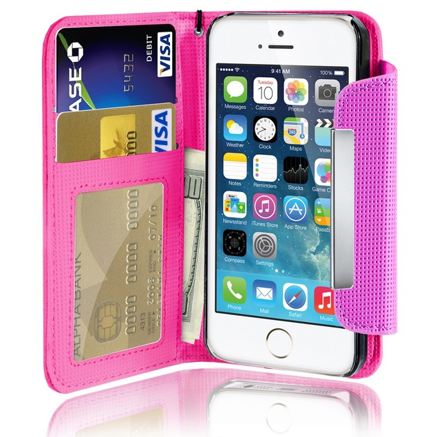 Leather Wallet Case With Clip for Apple iPhone 5/5S