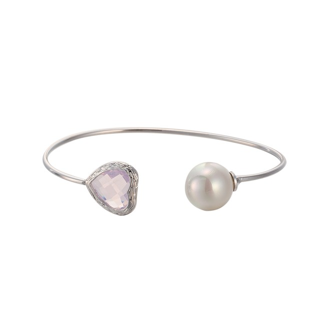 White Gold Plated Hearts Coral Gem & Ball Open Ended Bangle