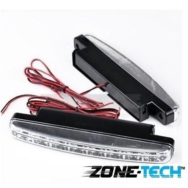 Zone Tech White Car DC Lamp Daytime Running Light 8 LED DRL Daylight Kit