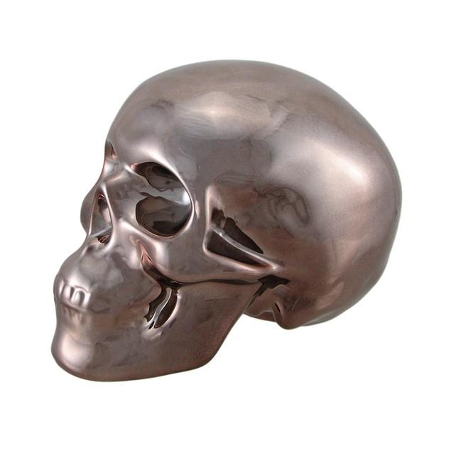 Polished Bronze Chrome Plated Ceramic Human Skull Toy Banks