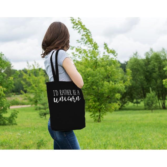I'd Rather Be a Unicorn Black Tote Bag