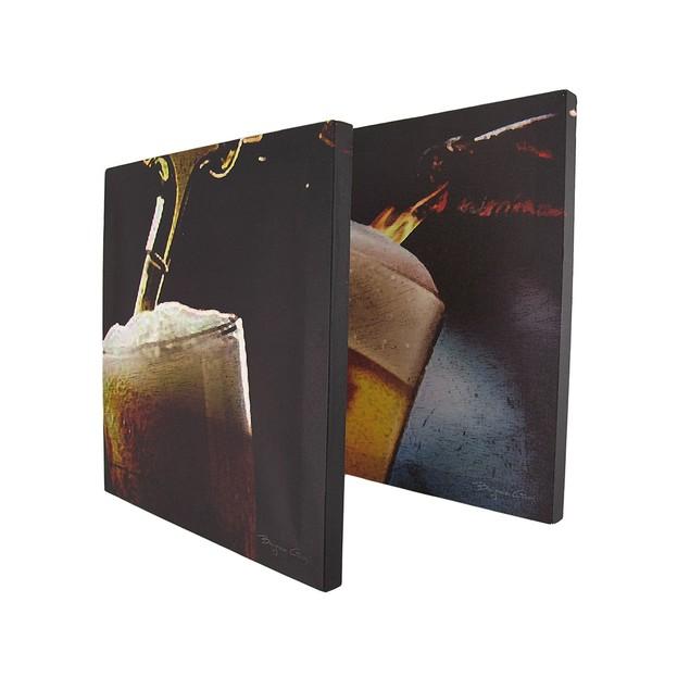 Set Of 4 Art Of Beer Printed Canvas Wall Hangings Prints