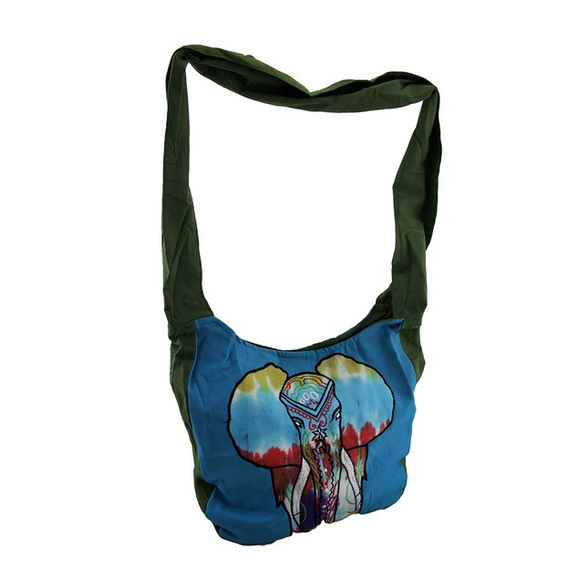 Painted Elephant Embroidered Cotton Crossbody Bag Womens Cross Body Bags