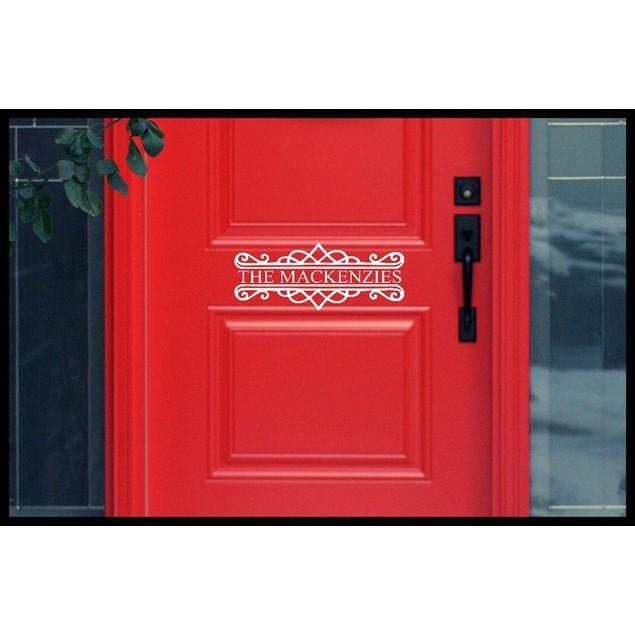 Family Name Vinyl Door Decal Design 3