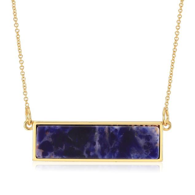 Gold Plated Genuine Quartz Bar Necklace - 7 Colors