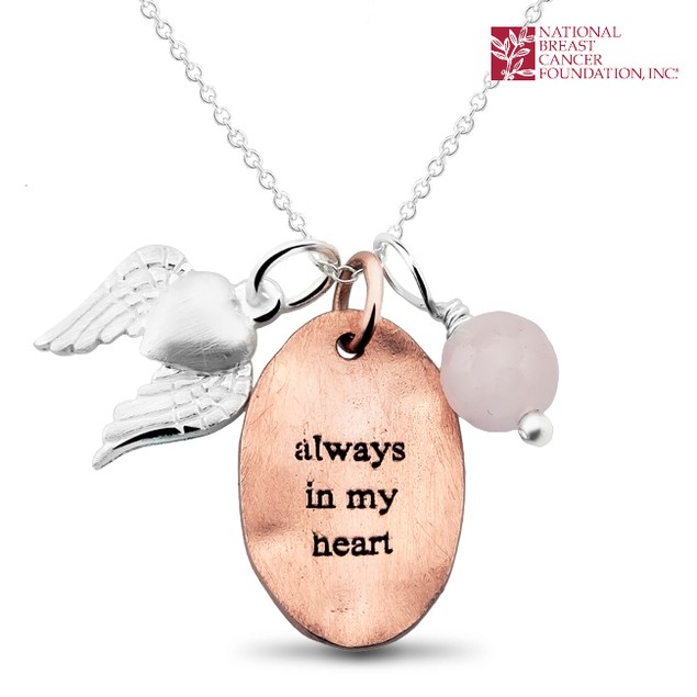 National Breast Cancer Foundation Inspirational Jewelry - Sterling Silver Always in My Heart Pendant