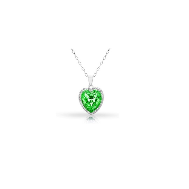18KT White Gold Plated Halo Peridot Heart Pendant in Sterling Silver