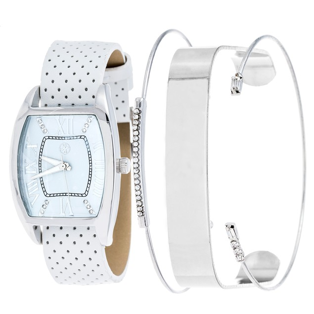Fortune NYC Women's Four Piece Tonneau White Watch Set