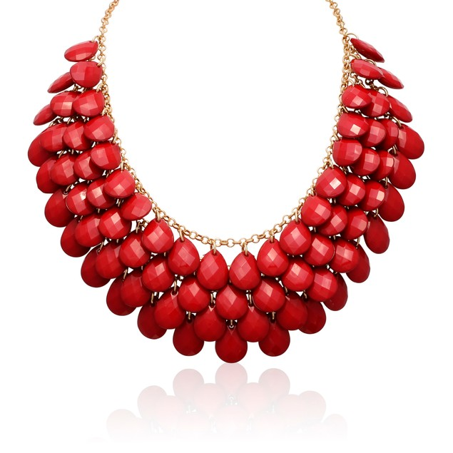 Gold Plated Red Ruby Crystal Statement Necklace