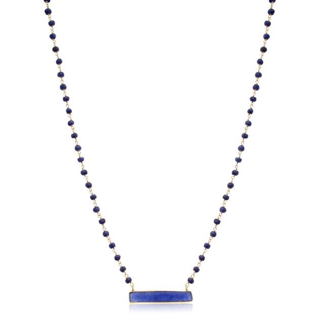 "14k Gold 36ct Blue Sapphire Bar Necklace, 18"""