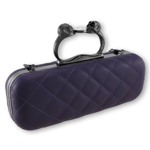 Purple Quilted Vinyl Clutch Purse With Gunmetal Womens Clutch Handbags