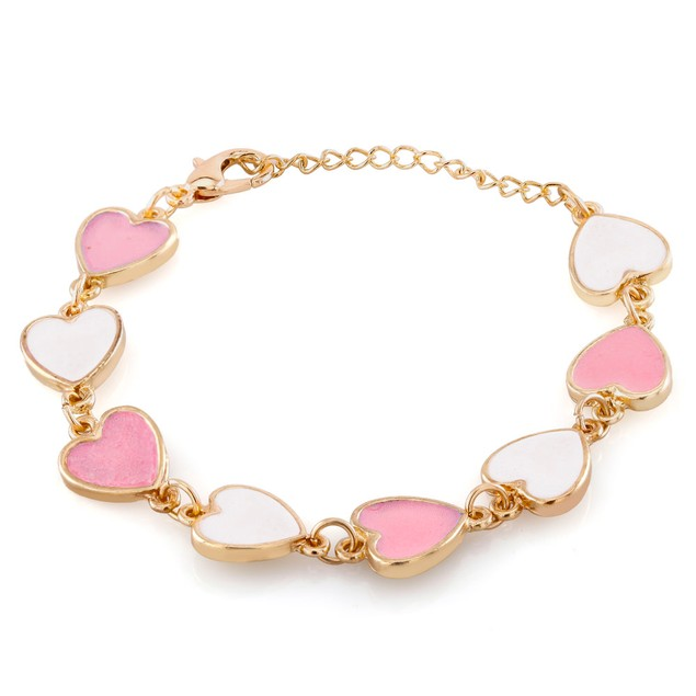 Kids Gold Plated Pink And White Hearts Enamel Bracelet