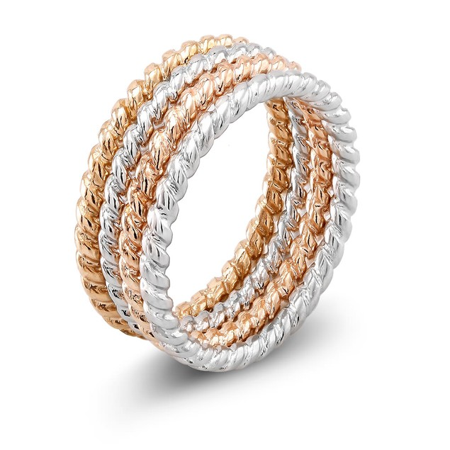 4-Piece Set Tri Color Stackable Band Rings