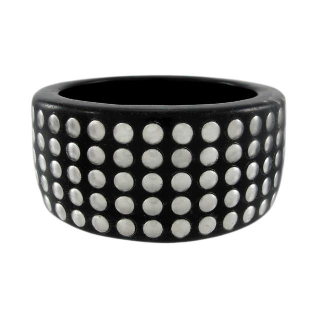 1 1/2 Inch Wide Silvertone Nailhead Studded Lucite Womens Bangle Bracelets