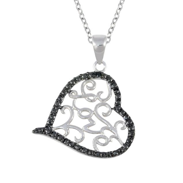Black & White Diamond Love Heart Necklace 0.01cttw