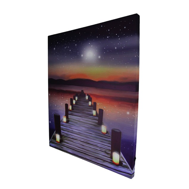 Candlelit Pier At Sunset Led Lighted Canvas Print Prints