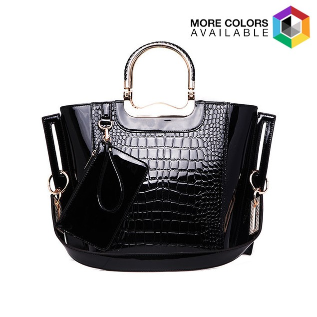 MKF Collection Tressa Croco-Embossed Shoulder Tote w/ Removable Strap